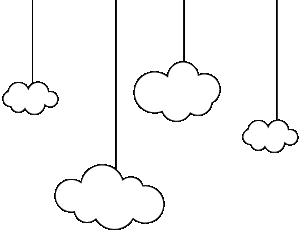 ארבעה עננים מצוירים בשחור לבן